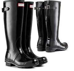 Hunter Back Adjustable Black Gloss Wellies Wellington Welly Boots
