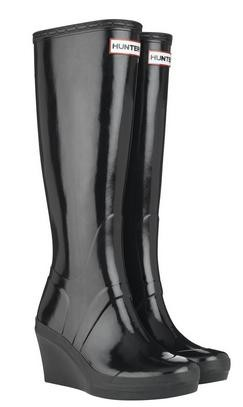 recognized brands hot sale hot sale Hunter Black Melrose Wedge Wellies Wellingtons Welly Boots
