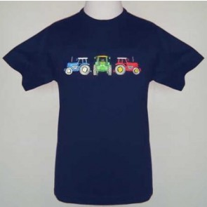Kids Childs Three Tractors John Deere Massey Ferguson New Holland Navy T-Shirt