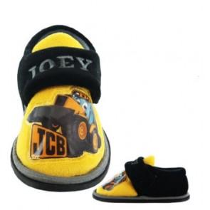 Kids JCB Yellow/Navy Slippers