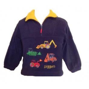 Kids Half Zip Navy Digger Construction Fleece