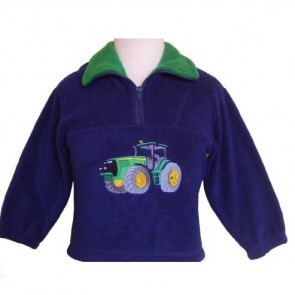 Kids Navy Green Tractor John Deere Fleece