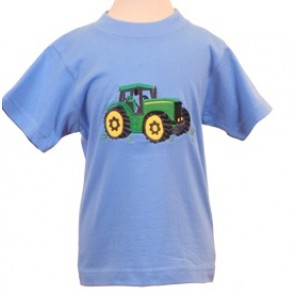Kids Green Tractor Sky Blue T-Shirt