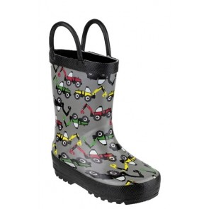 Kids Toddler Grey/Black Digger Wellingtons with handles