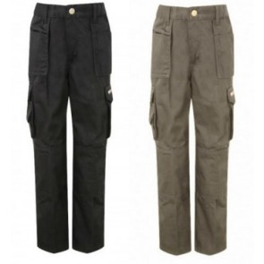 Kids Boys Work Trousers with Knee Pad Pockets Black and Grey