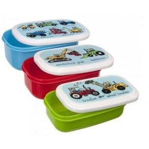 Working Wheels Tractor Snack Boxes Lunch boxes 3 pieces