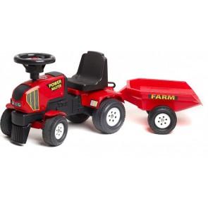 Kids Red Powermaster Toddler Push Along Tractor & Trailer
