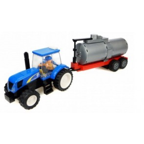 New Holland Tractor with Tanker Trailer Building Block Kit